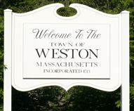 Weston Mass Welcome Sign